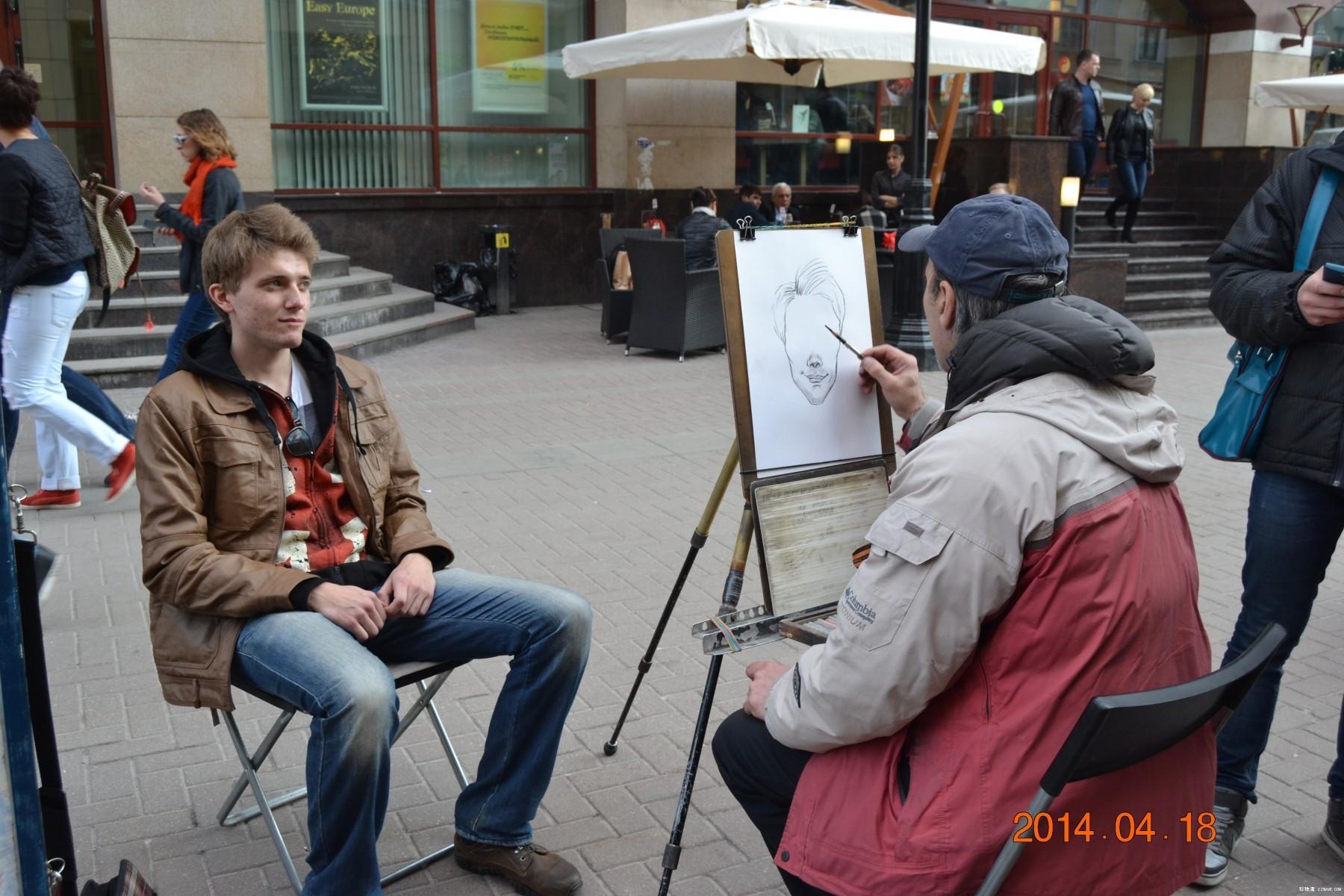阿尔巴特大街上的画师与街景 - lliiang1017 - 燕山红场的博客